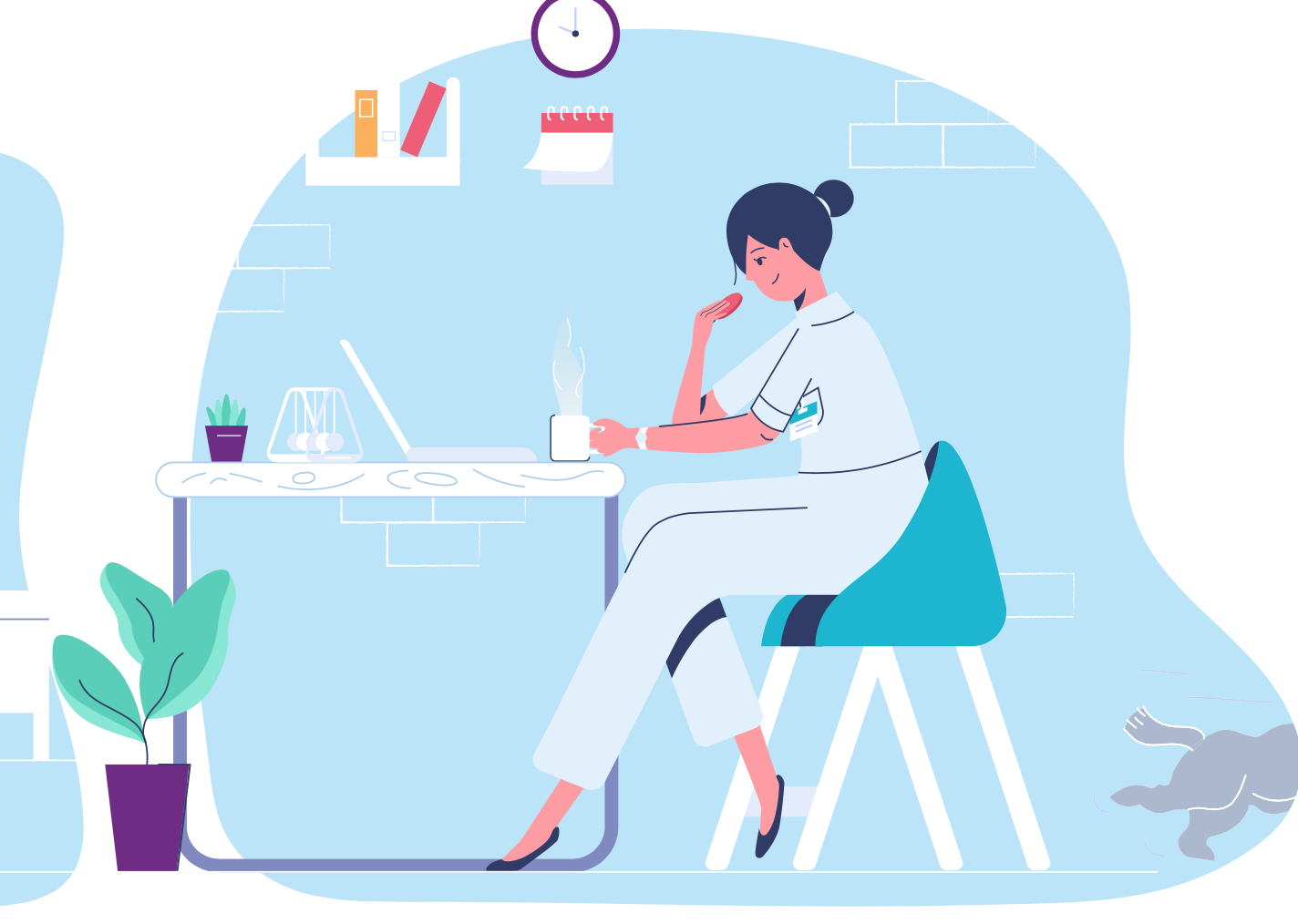 Illustration Of A Care Manager At Her Desk