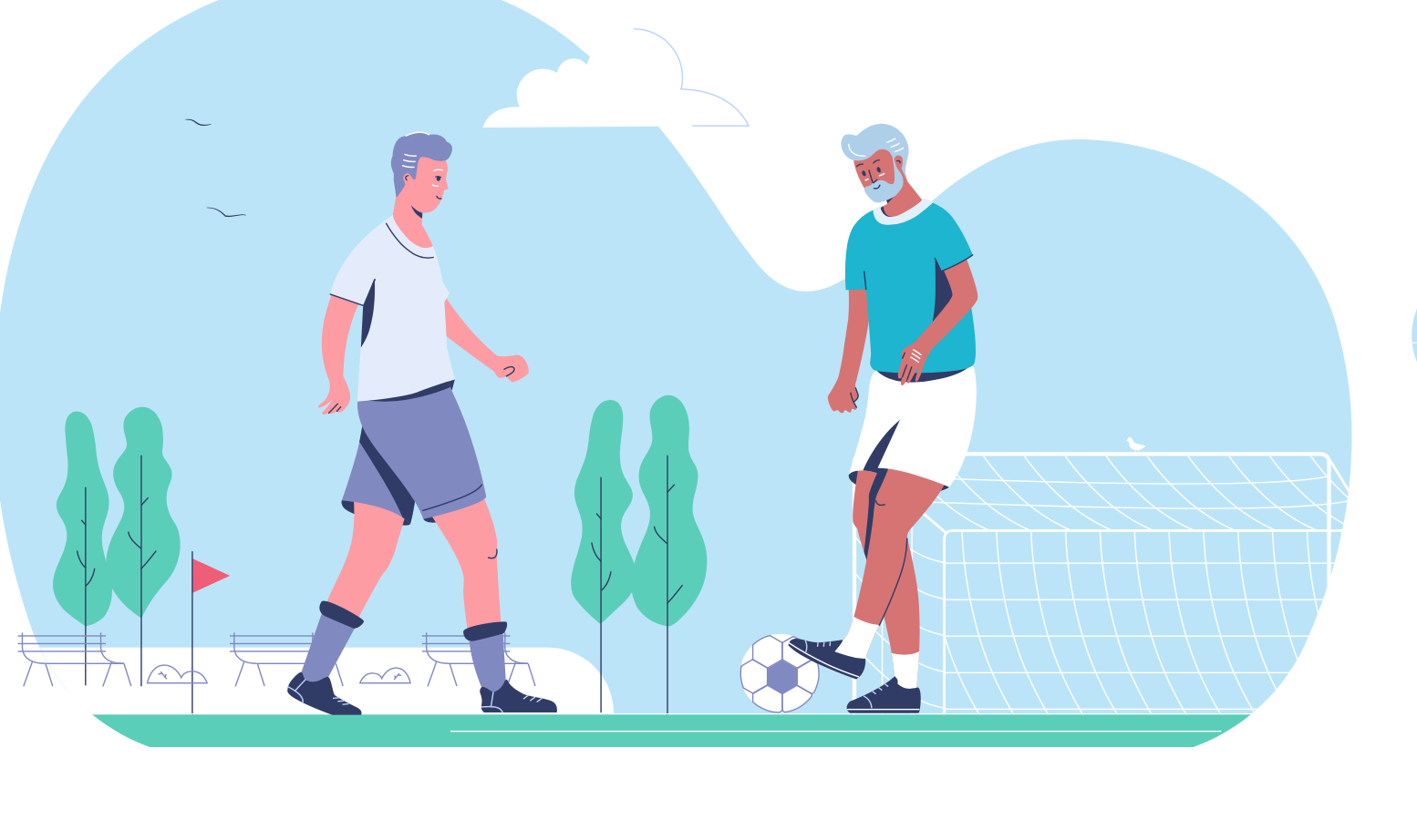 Illustration Elderly Men Playing Football