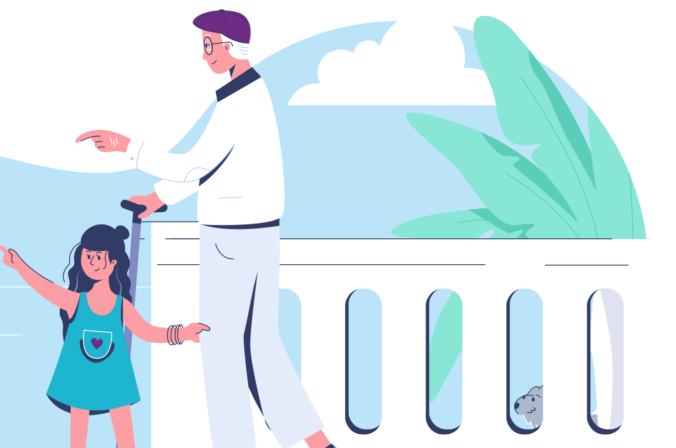 Illustration Of A Grandfather And Granddaughter At The Seaside